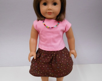 Brown Ruffle Skirt and Pink Shirt with Necklace