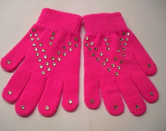 New! Beautiful Winter sports Hand-Stoned Gloves 1 pair (Pink) for Skaters, Children