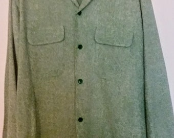 vintage 1950s raw silk flap pockets made in Japan shirt