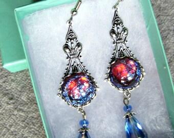 Dragons Breath Opal Earrings, Victorian Earrings, Blue Earrings, Red Earrings, Made to Order