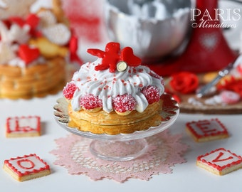 MTO-Cupid St Honoré French Pastry for Valentine's Day - 1/12 scale miniature food