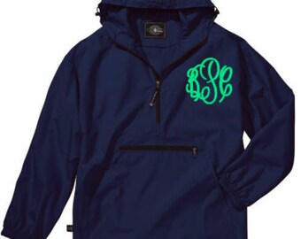 Rain Jacket, Monogram Rain Jacket, Monogram Pullover, Monogram Light Weight Pullover. Monogrammed Rain Jacket. Charles River, Pack-N-Go