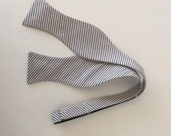 Men and Teen's Coffee Brown Seersucker Bow Tie
