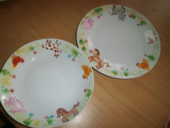 Flat plates and soup porcelain painted ponies cow sheep pig chicken pattern & Flat plates and soup porcelain painted ponies cow sheep