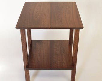 End Table with Shelf - Small Solid Wood Table for Living Room or Bed Side Table, Square Shape, Mid Century Modern Furniture Styling