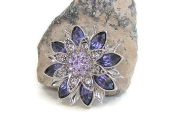 Violet rhinestone, 20 mm, noosa style snap charm button for interchangeable snap jewelry brands, like ginger snaps and magnolia and vine