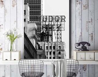 Tudor city New York Photography wall decor idea in canvas art/New York decor/large wall art/black and white New York prints/office decor
