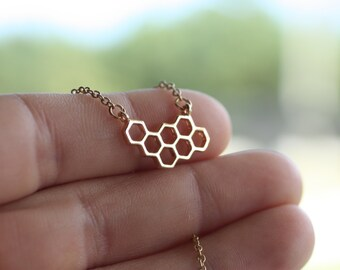 Gold Honeycomb Necklace, Hexagon Pendant Necklace, Bridesmaid Gift, Everyday Necklace, Wedding Jewelry, Small Honeycomb, HoneyBeeCharmed