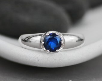 Minimalistic Blue Sapphire Ring - Sterling Silver Sapphire Engagement Ring - Simple Sapphire Ring - September Birthstone Ring -Size 5.5 Ring