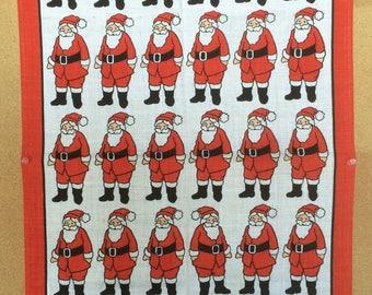 Santa Claus, Linen Tea Towel, Ulster Irish Linen, Santa by Ulster, Ulster Reg No 7579, Made in Ireland, Vintage, Christmas Tea Towel
