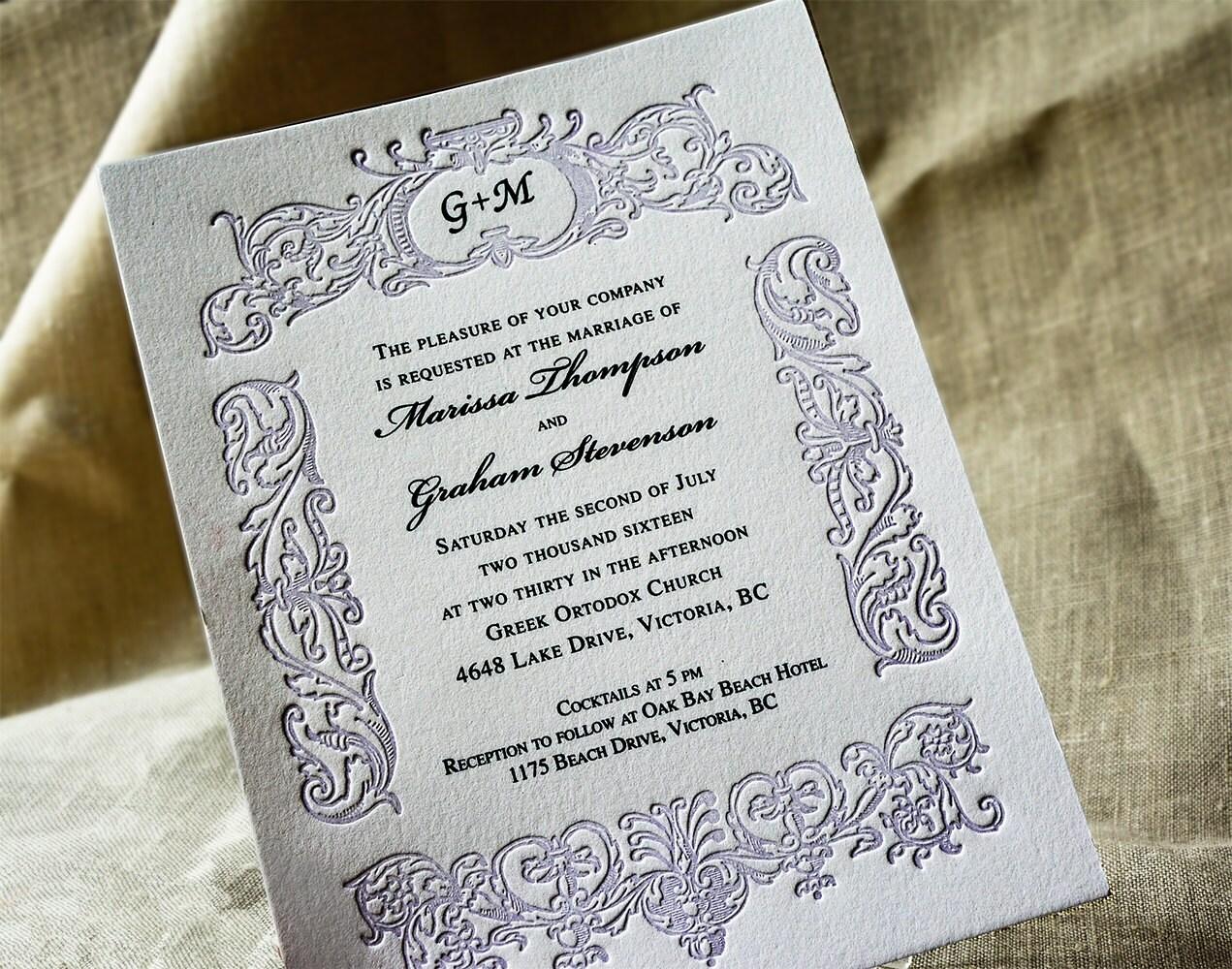 Plum Wedding Invitation Monogrammed Letterpress Wedding. Vintage ...