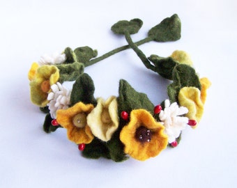 Flower crown floral headband necklace bracelet wrap Yellow poppy and white daisy floral Bohemian Romantic Hippy wedding Woman Multiuse 2016