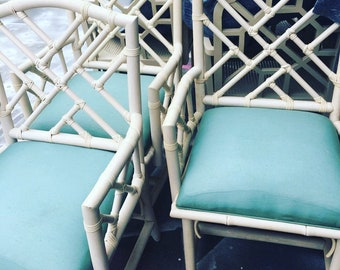 Rattan Chippendale Arm Chairs / Dining Chairs