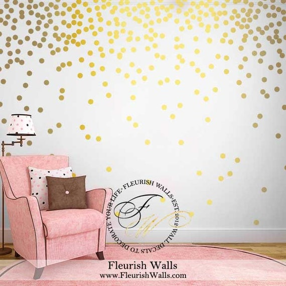 Lovely Gold Polka Dot Wall Decals Gold Wall Decal Dots Girls Room