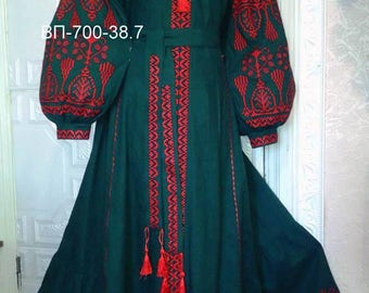 Wonderful Black Boho Women Dress Linen Dress with Geometric Ukrainian Vyshyvanka Maxi Dress Ukrainian Style Chic Ethnic dress Modern Folk