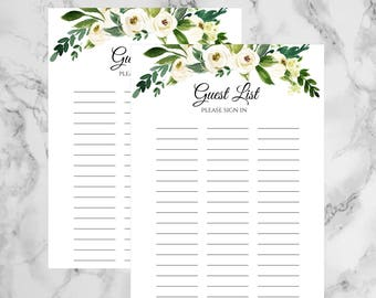 wedding guest list printable
