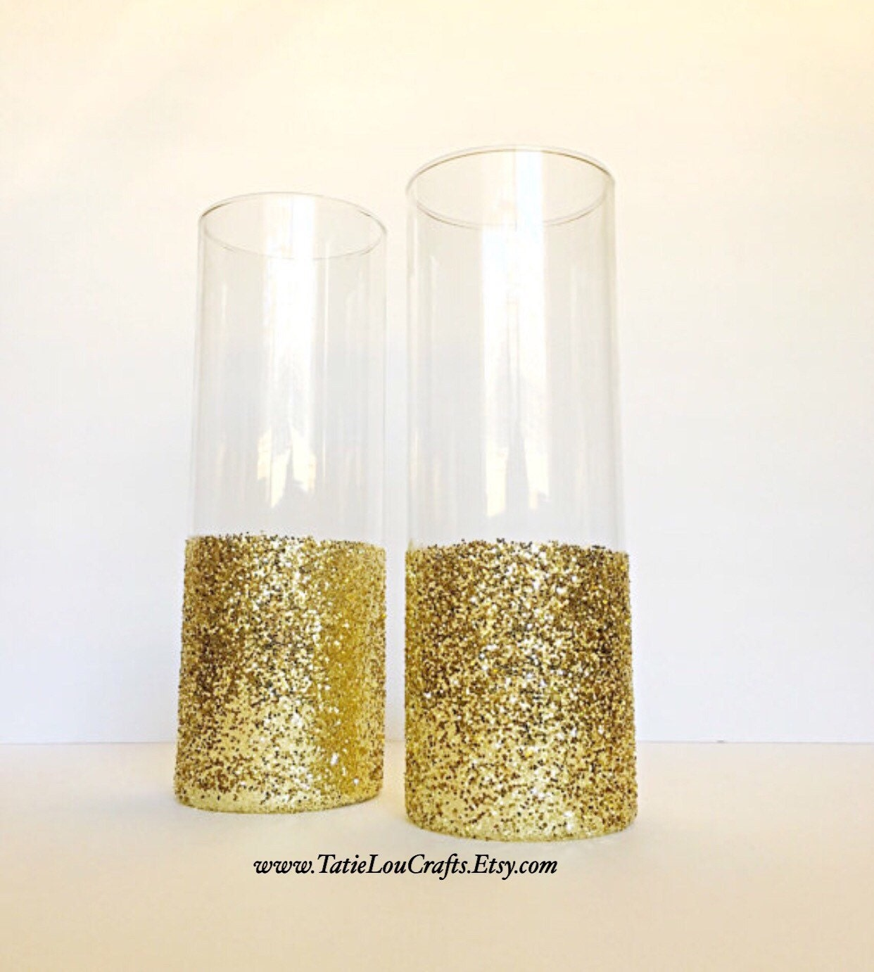 Set Of 2 Glass Cylinder Vases Wedding CenterpiecesBaptism
