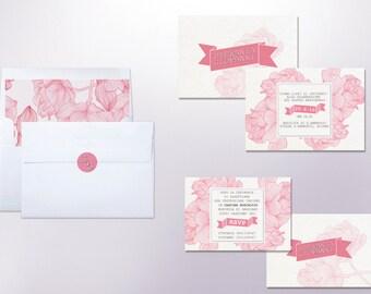 -Floral wedding invitation set