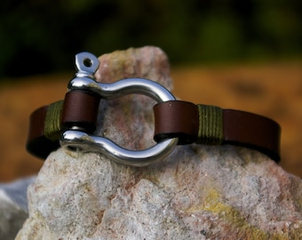 Handcrafted leather bracelet,  12mm wide, with Omega steel buckle.