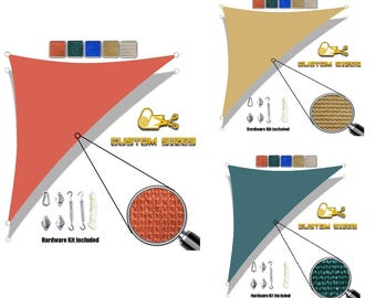Custom Sized Right Triangle Sun Shade Sail with 6'' Stainless Steel hardware kit - Terracota Red/Dark Green/Sand