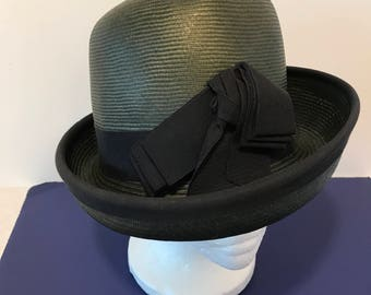 Vintage Sandy Braeburn Ladies Bowler Hat Dark Gray with Black Ribbon Paris New York