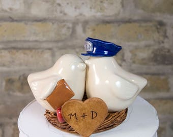 Teacher and Police Officer Wedding Cake Topper