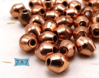 Bright Copper Metal Bicone Beads--10 Pcs.| 26-77CP-10