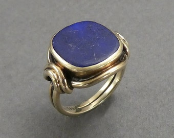 14K Lapis ring marked 585 size 5
