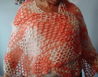Crochet Pineapple Shawl, Coral crochet shawl, Crochet lacy shawl, Crochet lightweight shawl, Coral crochet beach shawl,