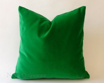 Kelly Green Cotton Velvet Pillow Cover - Decorative Accent Throw Pillows - Invisible Zipper Closure - Knife Or Piping Edge -16x16 to 26x26