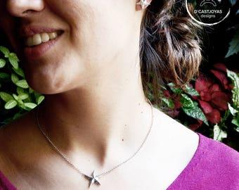 Gargantilla estrella de mar, Regalo Dia de la Madre, Colgante pequeño estrella de plata, Joyería del mar, Collar artesanal