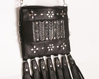 Small black leather handbag  Crossbody bag Plunt bag  Rock tyle bag  Black Leather Purse  Fringe Leather bag  Festival Bag