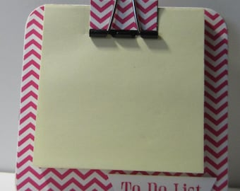 Pink Chevron Coaster Magnetic Sticky Note Holder
