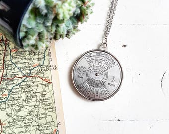 Perpetual Calendar Necklace // Calendar Necklace // Travel Jewelry // Travel Necklace // Save the Date
