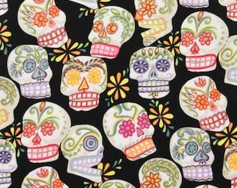 Calaveras Skulls Cotton Fabric by the Yard Alexander Henry Fabric Sugar Skulls