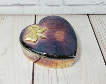 Vintage Lidded Silverplate Heart Trinket Box with Brass Bow