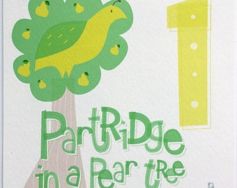 One Partridge in a Pear Tree Hand-lettered Print