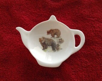 "Ceramic Tea Bag Holder  Grizzley bears 4.5"""