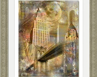 Moon Over New York Artistic Collage