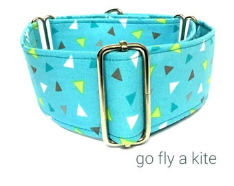 Blue Yellow and Brown Triangles Martingale Dog  Collar , Greyhound Collar , Whippet Collar , Lurcher Collar , Sighthound Collar Large Breed