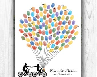 Wedding Guest Book Alternative, Silhouette Finger Print Guest book, Fingerprint Wedding Guestbook Bicycle Tandem Bike DIGITAL PRINTABLE JPEG