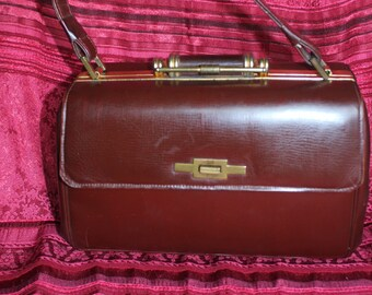 Vintage 30's mahogany leather bag