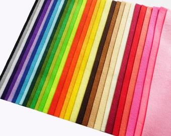 Felt sheets, 34 colors, size 20x20cm, felt pack, felt supplies, felt craft