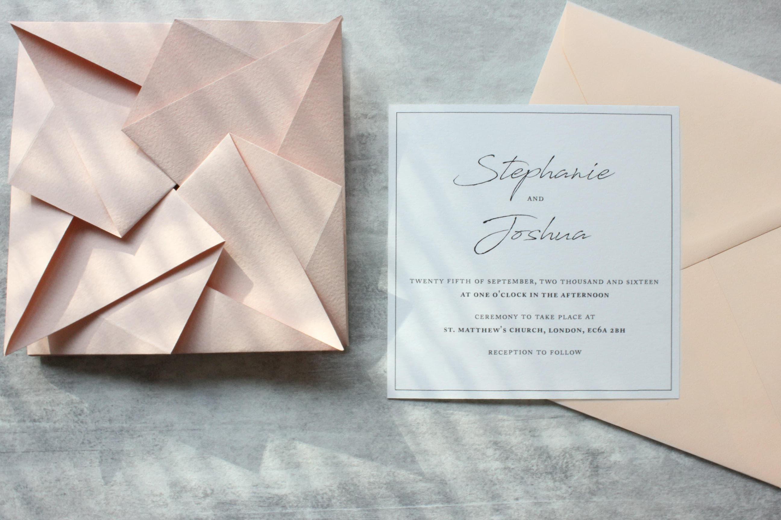 Blush origami wedding invitation suite rsvp envelope zoom jeuxipadfo Images
