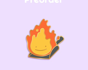 PREORDER CALCIFER Ditto x Anime Movie Enamel Pin [Studio Ghibli Howl's Moving Castle Fire Demon Spirit Hayao Miyazaki Film Pokemon Parody]