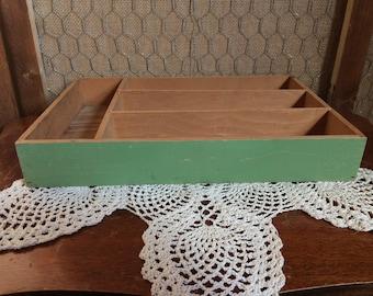 Vintage Wooden Flatware Tray