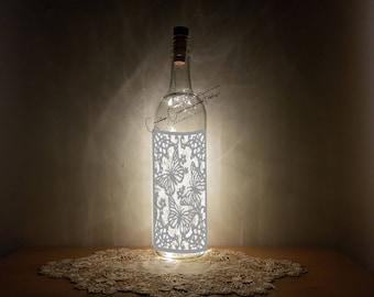 Bottle Light Kit, Lace Butterfly, Bottle Lamp, Wine Bottle Light, Bottle Light, Table Decor, Unusual Gift, Bottle, Craft Kit, Crafty Creases