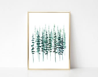 Pine Tree Print Evergreen Trees Watercolor Painting Pine Tree Forest Misty Forest Scandinavian Print Scandinavian Art Scandinavian Poster