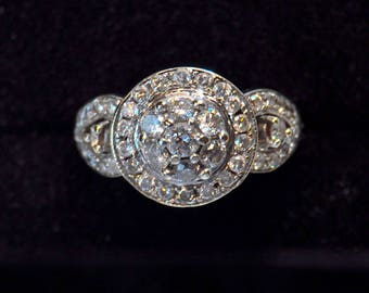 Solid Gold and Diamond Cluster Art Deco Ring