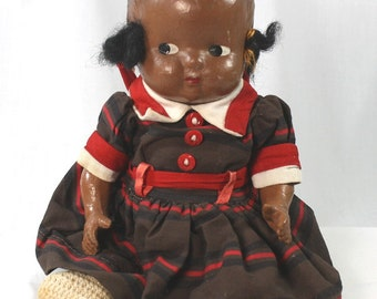 Vintage African American Composition Doll